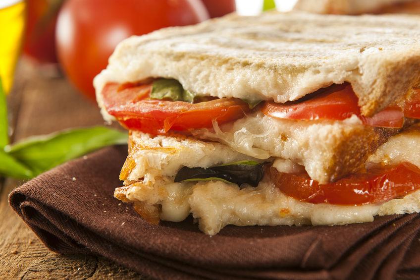 Tomato and Mozzarella Panini with Arugula and Pesto