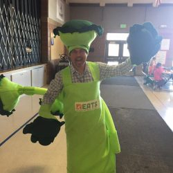 Principal Gomez in broccoli costume