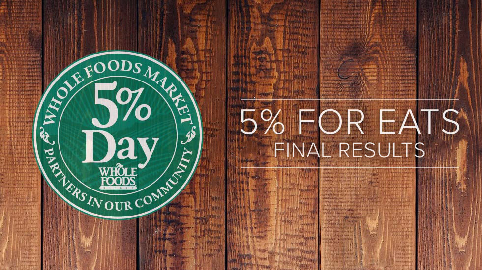Update: Whole Foods 5% Day for EATS