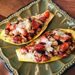 Cheesy Chickpea & Tomato-Stuffed Zucchini Boats