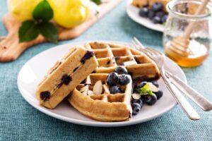 Lemon Poppyseed Waffles with Vanilla Blueberry Sauce - EATS Park City - OMAD