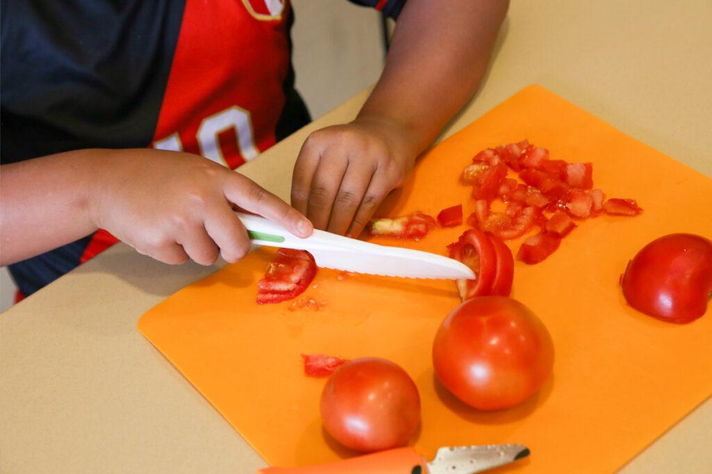Slicing tomatoes, Homegrown EATS Camp at the Swaner EcoCenter