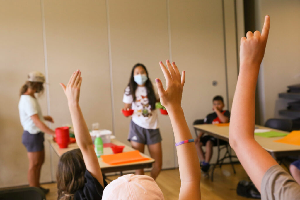 Raised hands, Homegrown EATS Camp at the Swaner EcoCenter